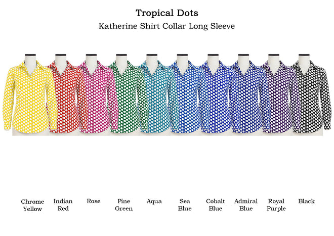 Katherine Shirt Shirt Collar Long Sleeve in Tropical Dots