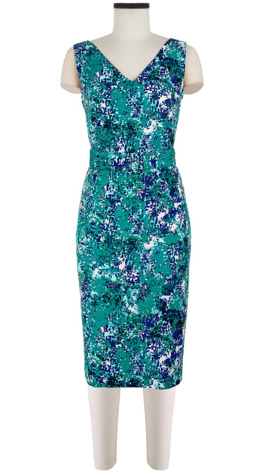 Victoria Dress V Neck Sleeveless Long Length Cotton Dobby Stretch (Abstract Mosaic Bright)