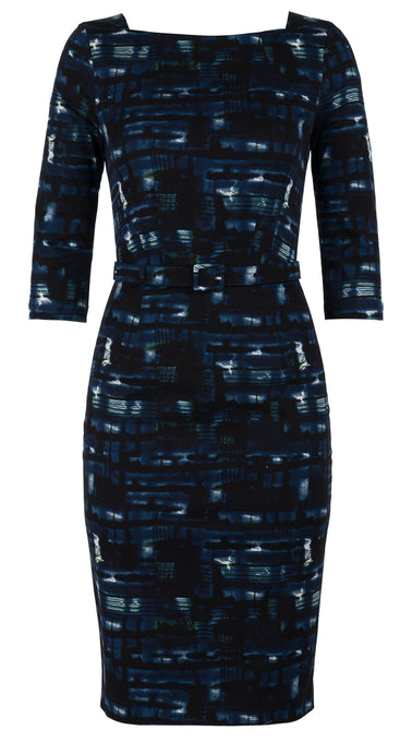 Celine Dress Boat Neck 3/4 Sleeve Cotton Dobby Stretch (Abstract Egon)