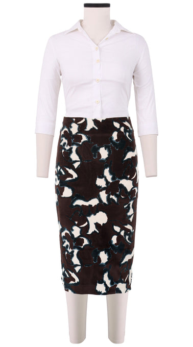 Chloe Skirt Long Length Velveteen (Abstract Pace)