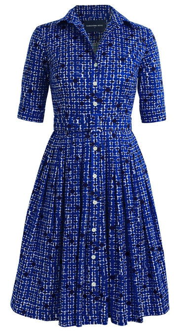 Audrey Dress #1_African Dots Bright in Admiral Blue_Cotton Stretch_Shirt Collar 1/2 Sleeve