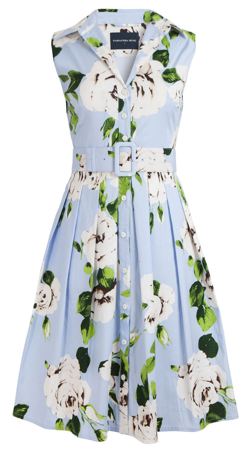 0d34c0e57771 Audrey Dress #1_Amber Queen in Soft Sky Blue_Cotton Stretch_Shirt Collar  Sleeveless