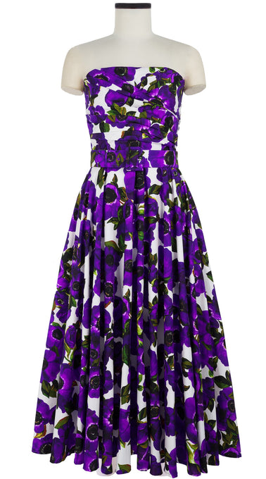 Carol Dress Tube Strapless Ankle Length Cotton Stretch (Anemone Fokker)