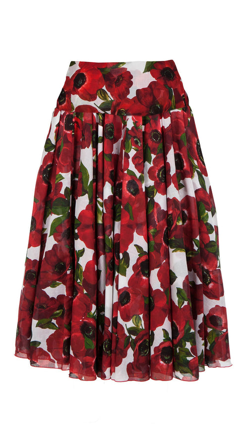 Aster Skirt with Yoke Midi Length Cotton Musola (Anemone Fokker)