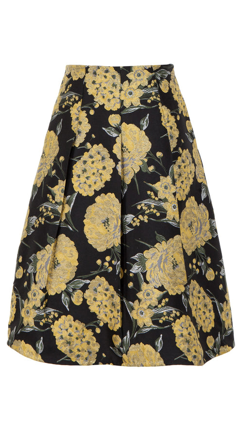 Dylon Skirt_Silk Poly Brocade_Balconies Brocade_Black Gold