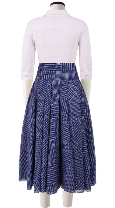 Aster Skirt with Yoke Midi Length Cotton Musola (Balenciaga Check Bright)