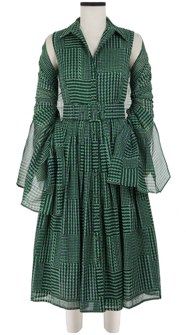 Audrey Dress #2 Shirt Collar Sleeveless Midi Length Cotton Musola (Balenciaga Check Bright)