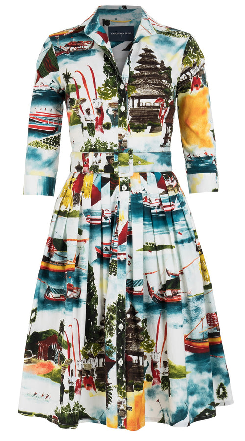 Audrey Dress #2 Shirt Collar 3/4 Sleeve Cotton Stretch (Bali Scenery)