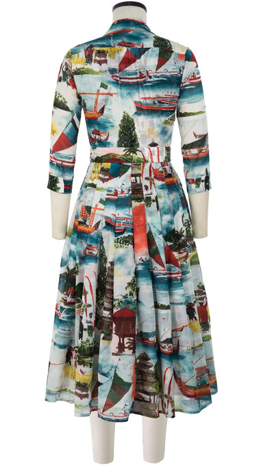 Audrey Dress #4 Shirt Collar 3/4 Sleeve Midi Length Cotton Musola (Bali Scenery)