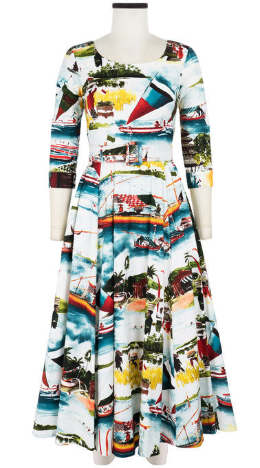 Avenue Dress #2 Boat Neck 3/4 Sleeve Midi +7 Length Cotton Stretch (Bali Scenery)