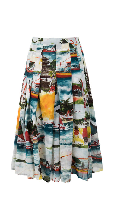 Zeller Skirt Long +3 Length Cotton Musola (Bali Scenery)