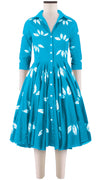 3/4 Sleeve | Bamboo Shibori | Aqua | Front | Shirt Dress By Samantha Sung