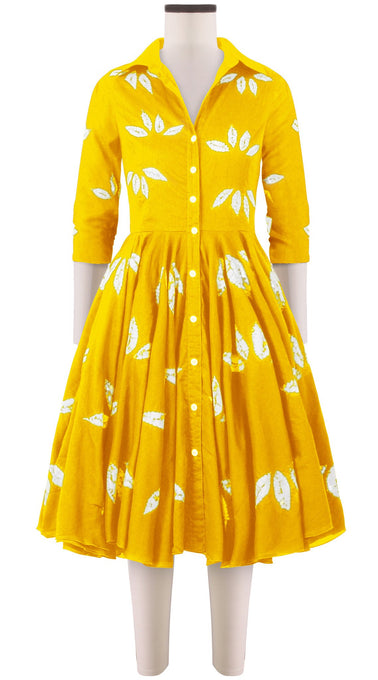 3/4 Sleeve | Bamboo Shibori | Canary Yellow | Front | Shirt Dress By Samantha Sung