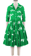 3/4 Sleeve | Bamboo Shibori | Pine Green | Front | Shirt Dress By Samantha Sung