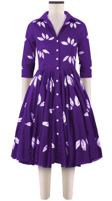 3/4 Sleeve | Bamboo Shibori | Royal Purple | Front | Shirt Dress By Samantha Sung