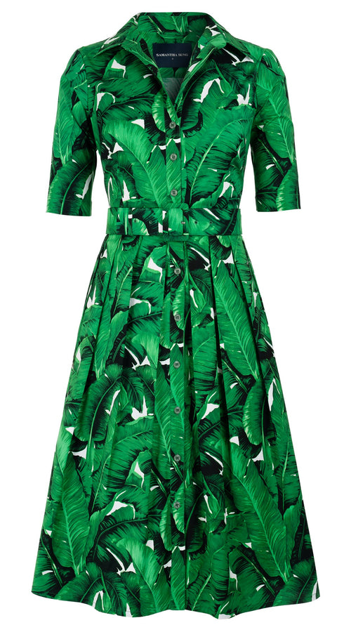 Audrey Dress #1 Shirt Collar 1/2 Sleeve Long Length Cotton Stretch (Banana Leaves)