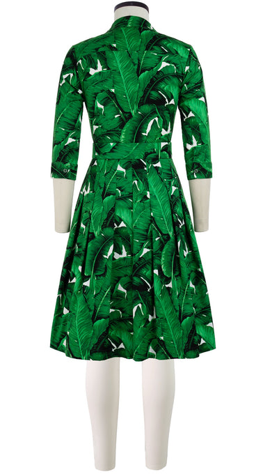 Audrey Dress #3 Shirt Collar 3/4 Sleeve Cotton Stretch (Banana Leaves)