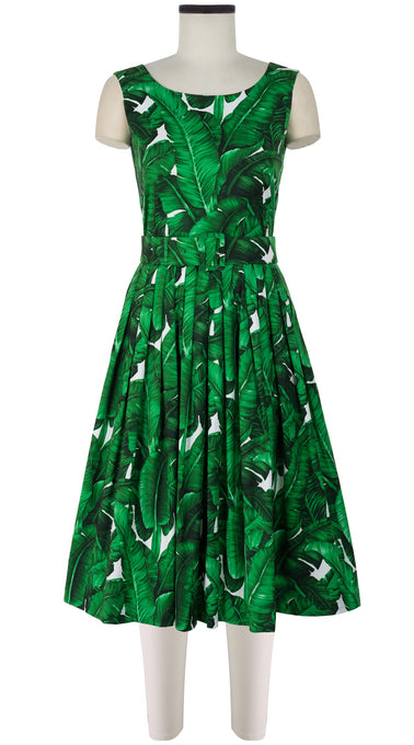 Florance Dress #2 Boat Neck Mini Cap Sleeve Long Length Cotton Stretch (Banana Leaves)