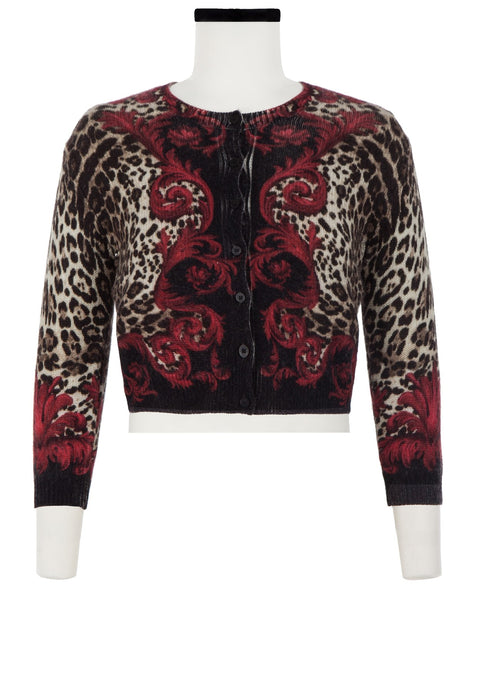 Colette Cardigan Short Crew Neck 3/4 Sleeve_100% Cashmere_Baroque Leopard Bright_Blood Red Black