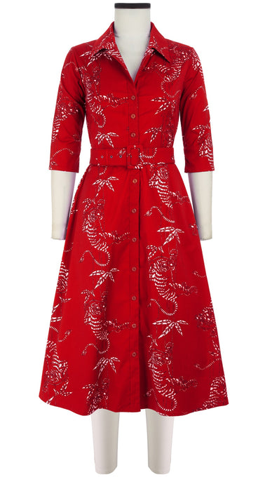 Abel Dress #3 Shirt Collar Elbow Sleeve Midi Length Cotton Stretch (Batik Tiger)