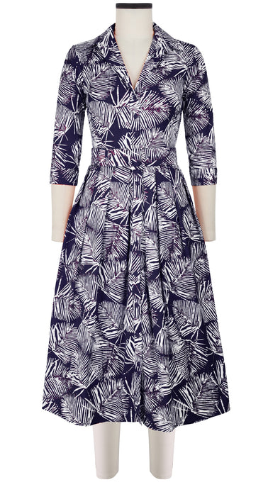 Audrey Dress #1 Shirt Collar 3/4 Sleeve Midi Length Cotton Stretch (Batik Palm)