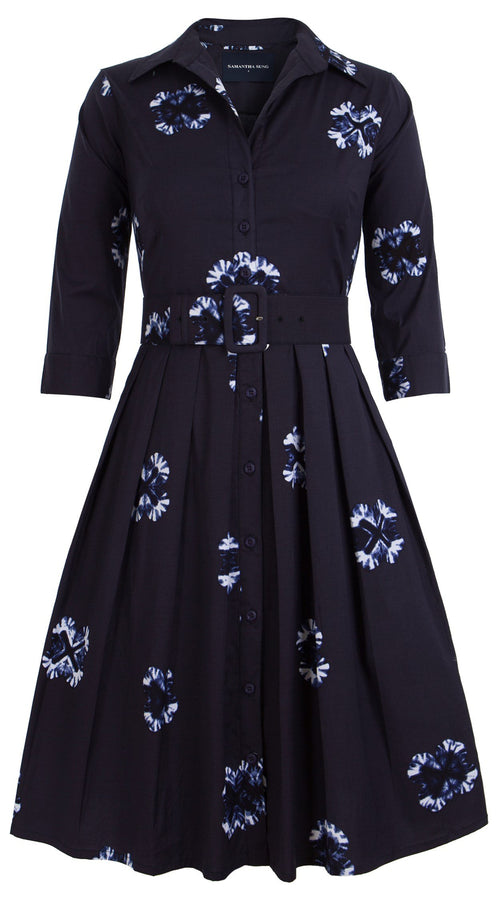 Audrey Dress #1_Batik Star in Indigo_Cotton Stretch_Shirt Collar 3/4 Sleeve