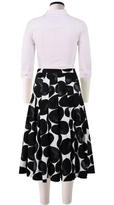 Zeller Skirt Long Length Cotton Stretch (Black Pebbles)