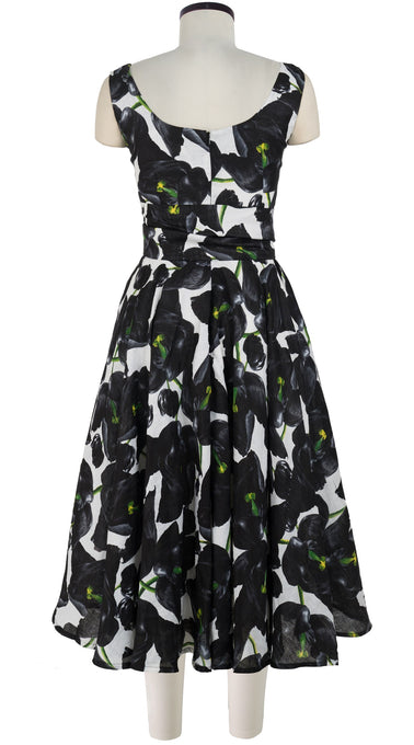 April Dress #1 U Neck Sleeveless Midi Length Linen (Black Tulip)