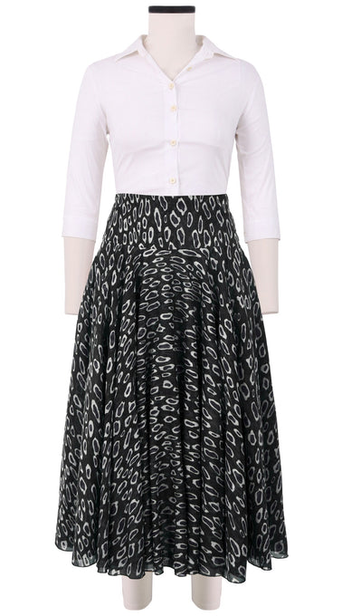 Aster Skirt with Yoke Midi Length Cotton Musola (Black Cheetah)