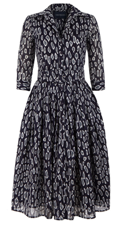 Audrey Dress #2 Shirt Collar 3/4 Sleeve Midi Length Cotton Musola (Black Cheetah Bright)