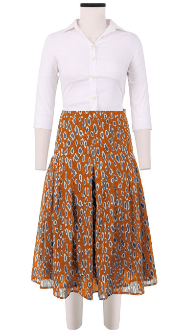 Zeller Skirt Long Length Cotton Musola (Black Cheetah Bright)