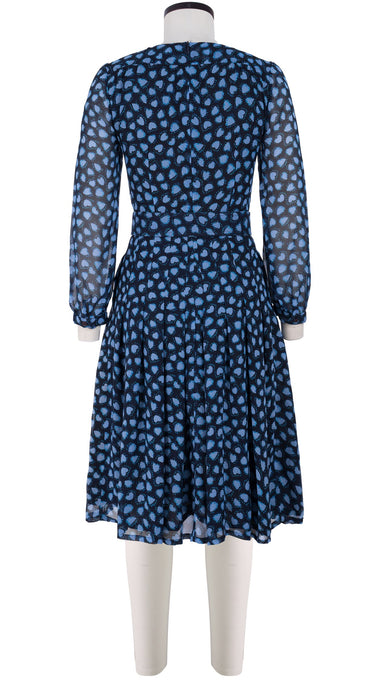 Florance Dress #4 Crew Neck Long Puff Sleeve Silk (Bohemian Heart)