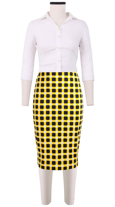 Chloe Skirt Cotton Dobby Stretch (Bomber Check Multi)