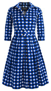 Audrey Dress #1 Shirt Collar 3/4 Sleeve Cotton Stretch (Bomber Check Multi)