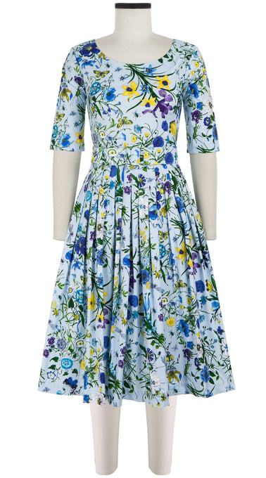 Florance Dress #2 Boat Neck 1/2 Sleeve Long Length Cotton Stretch (Botanical Garden)