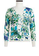 Charlotte Cardigan V Neck 3/4 Sleeve_70% Silk 30% Cashmere_Botanical Garden_White Blue