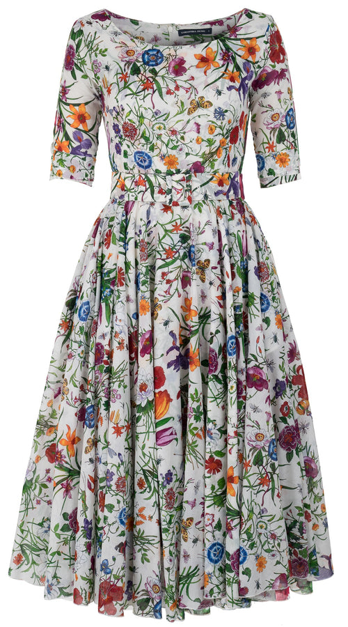 Aster Dress Boat Neck 1/2 Sleeve Midi Length Cotton Musola (Botanical Garden)