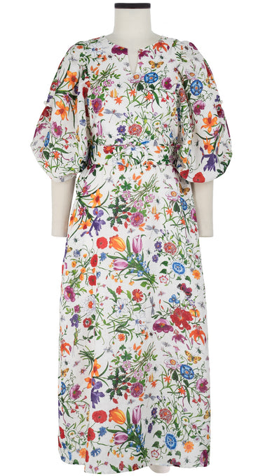Anastasia Dress Crew Slit Neck 3/4 Sleeve Ankle Length Linen (Botanical Garden)