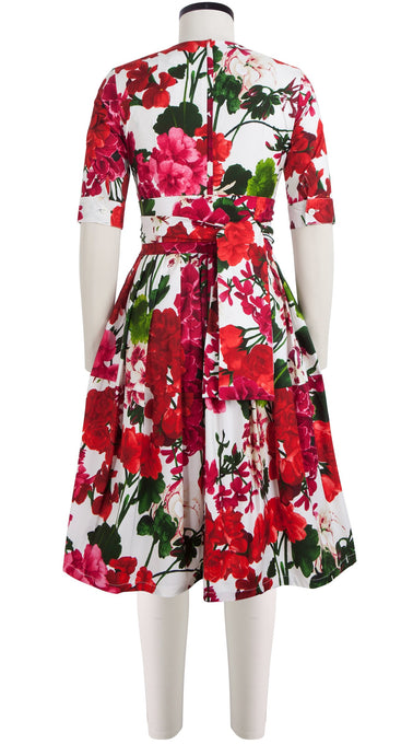 Rachel Dress Crew Neck 1/2 Sleeve Cotton Stretch (Bougainvillea Blossom)