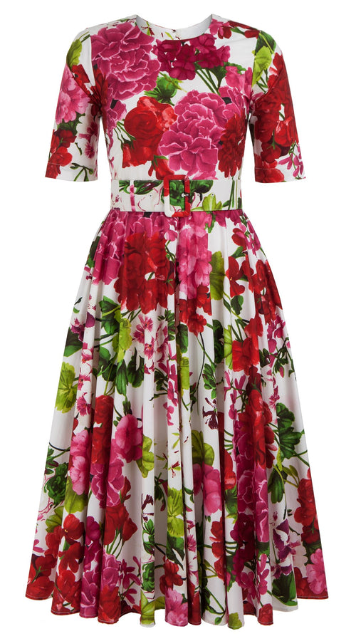 April Dress Crew Neck 1/2 Sleeve Midi Length Cotton Stretch (Bougainvillea Blossom)