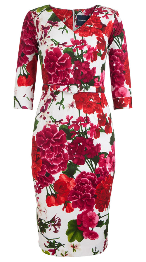 Ashley Dress Open V Neck 3/4 Sleeve Cotton Dobby Stretch (Bougainvillea Blossom)