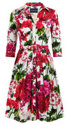 Audrey Dress #1 Shirt Collar 3/4 Sleeve Cotton Stretch (Bougainvillea Blossom)