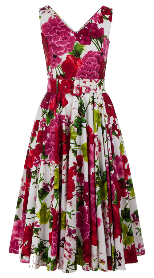 Gigi Dress V Neck Sleeveless Midi Length Cotton Stretch (Bougainvillea Blossom)