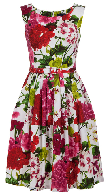 Rachel Dress Boat Neck Mini Cap Sleeve Cotton Stretch (Bougainvillea Blossom)