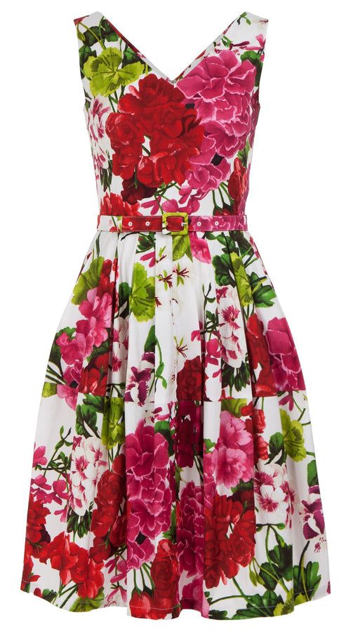 Rachel Dress Open V Neck Mini Cap Sleeve Cotton Stretch (Bougainvillea Blossom)