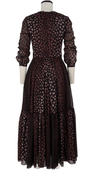 Anna Dress #2 Crew Neck Long Puff Sleeve Ankle Length Cotton Musola (Brown Jaguar)