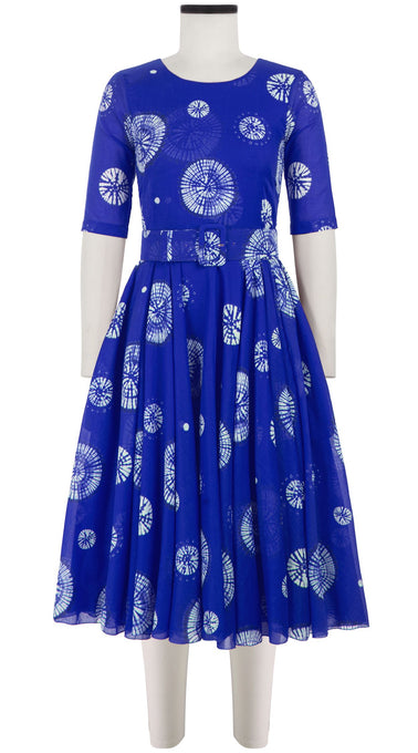 Aster Dress Crew Neck 1/2 Sleeve Midi Length Cotton Musola (Buthan Shibori)