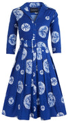 Audrey Dress #1 Shirt Collar 3/4 Sleeve Cotton Stretch (Buthan Shibori)