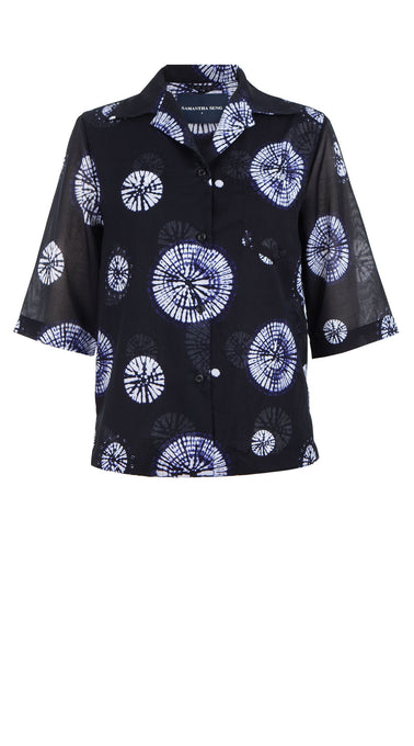 Hilary Shirt 1/2 Sleeve Cotton Musola (Buthan Shibori)