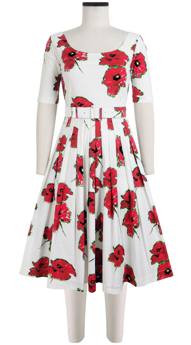 Florance Dress U Neck 1/2 Sleeve Cotton Stretch (Canon Poppy Large)
